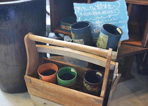 アンティーク風の空き缶を使った植木鉢